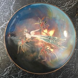 Vintage MCM Dutch enamel & copper peacock plate